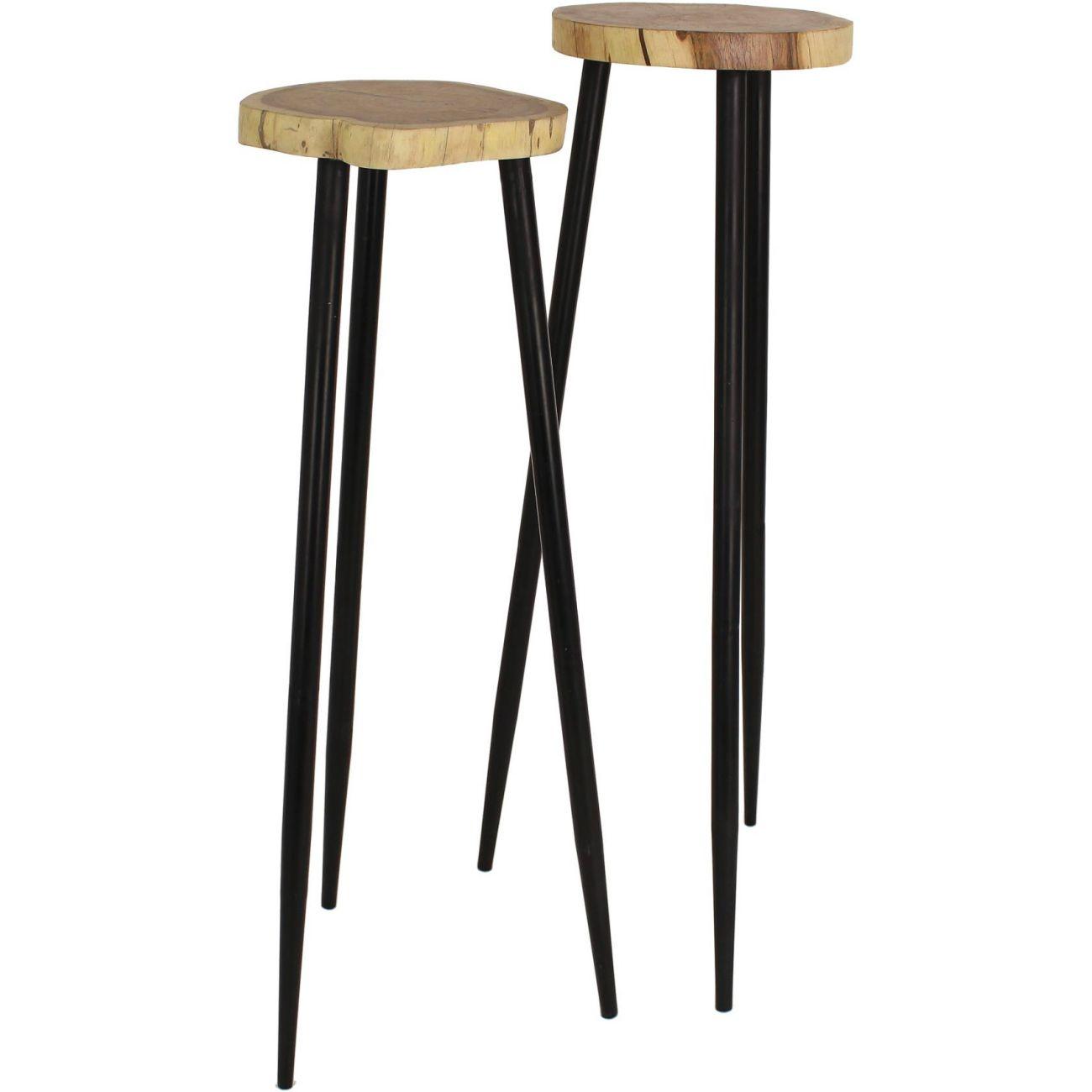 Set Of Two Tall Pillar Acacia Wood Side Tables thumbnail