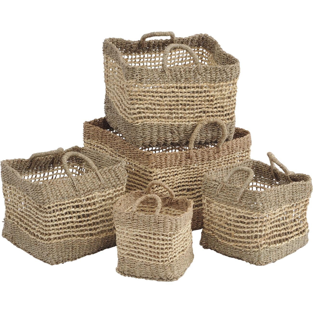 Natural Seagrass Square Storage Baskets, Set of 5 thumbnail