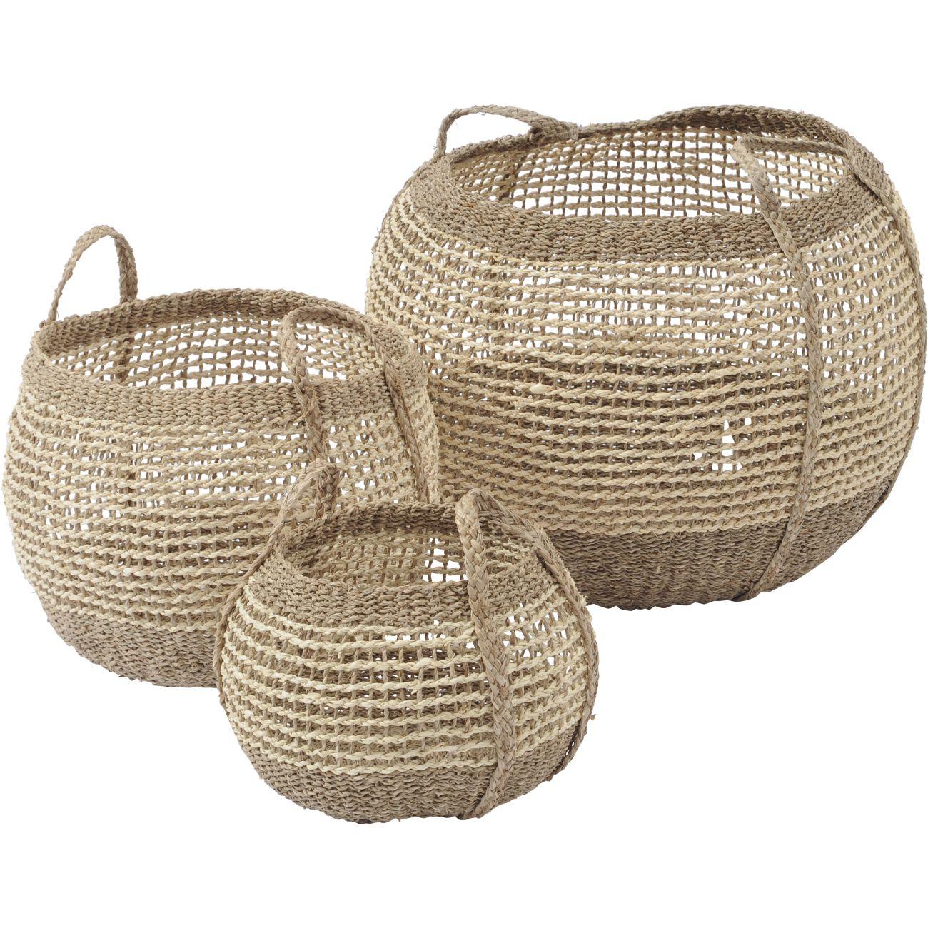 Natural Seagrass Storage Baskets, Set of 3 thumbnail