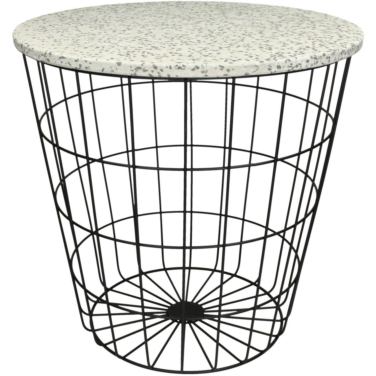 Terazzo Side Table In Grey And White With Black Metal Mesh Base thumbnail