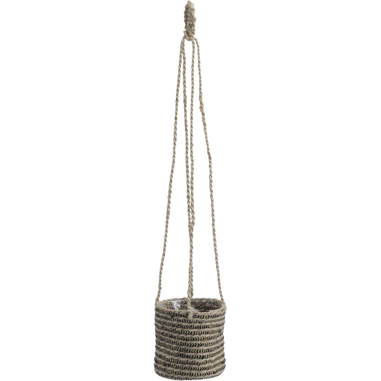 Natural Jute Black Stripe Hanging Basket Planter thumbnail
