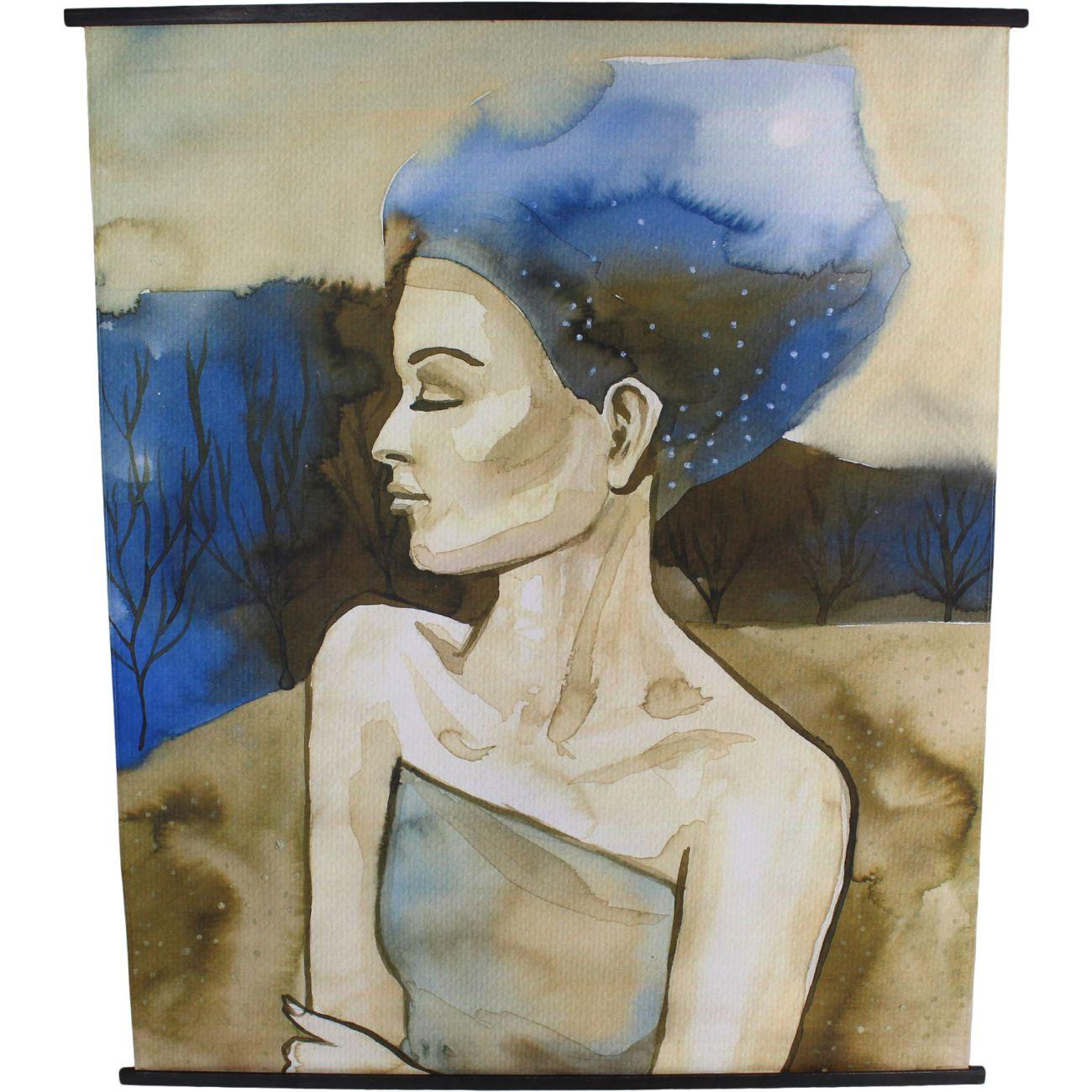 Blue Haired Lady Velvet Hanging Wall Art, 140 x 170cm thumbnail