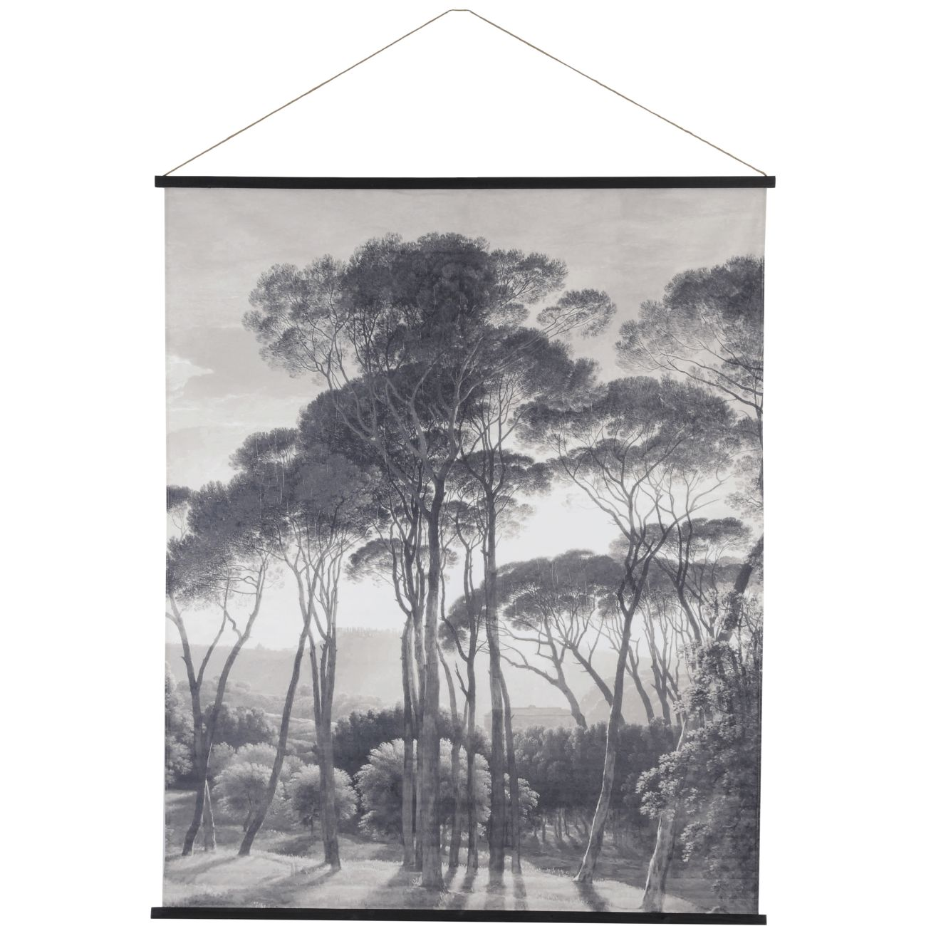 Black and White Forest Scene Cotton Hanging Wall Art, 140 x 170cm thumbnail