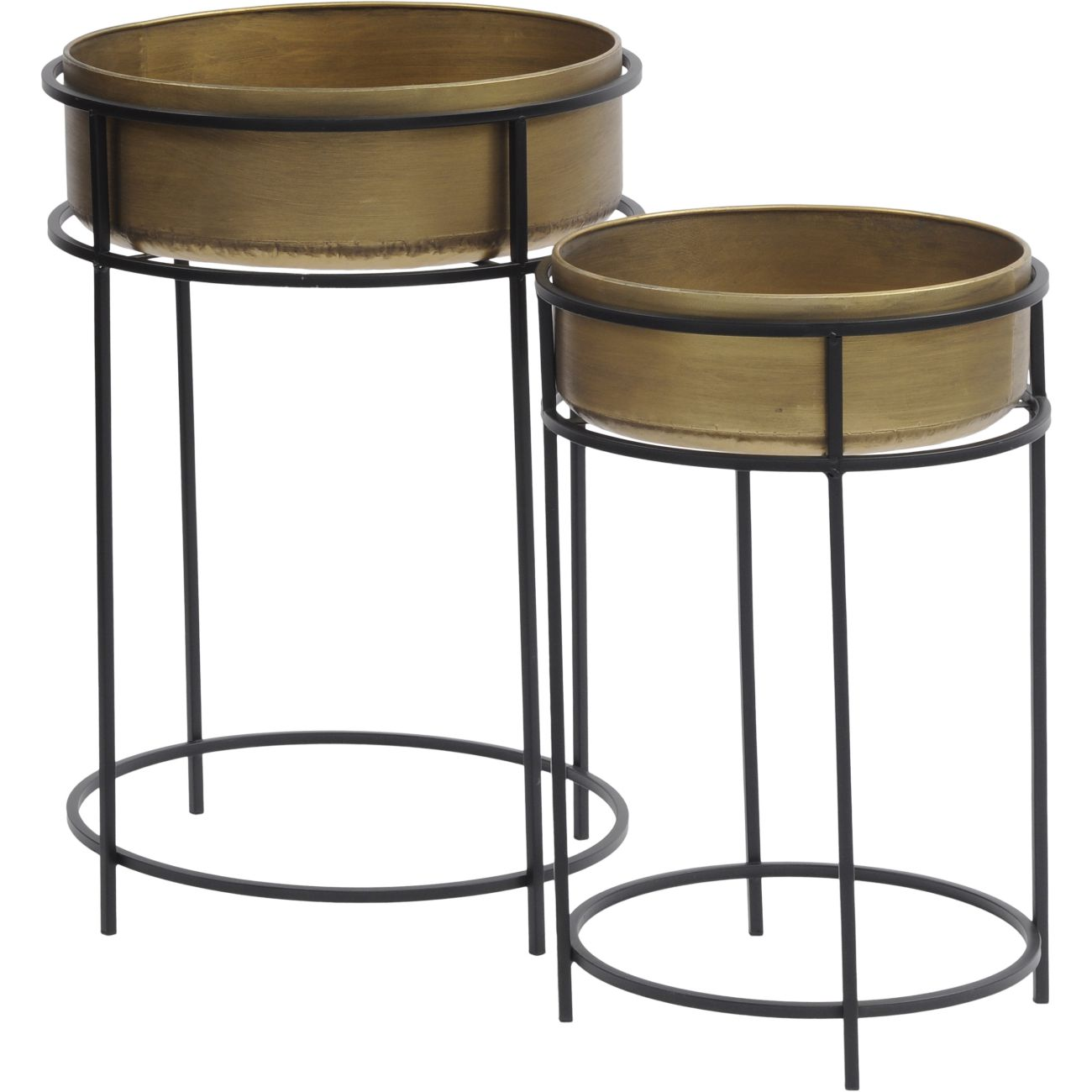 Gold Planter with Tall Black Metal Stand, Set of 2 thumbnail