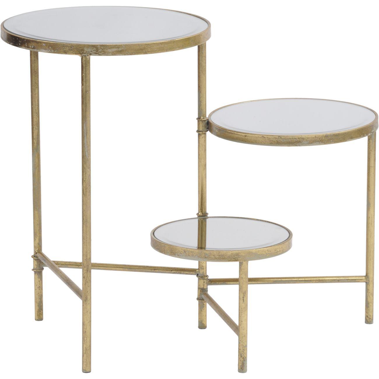 Three Tiered Circular Gold Side Table thumbnail