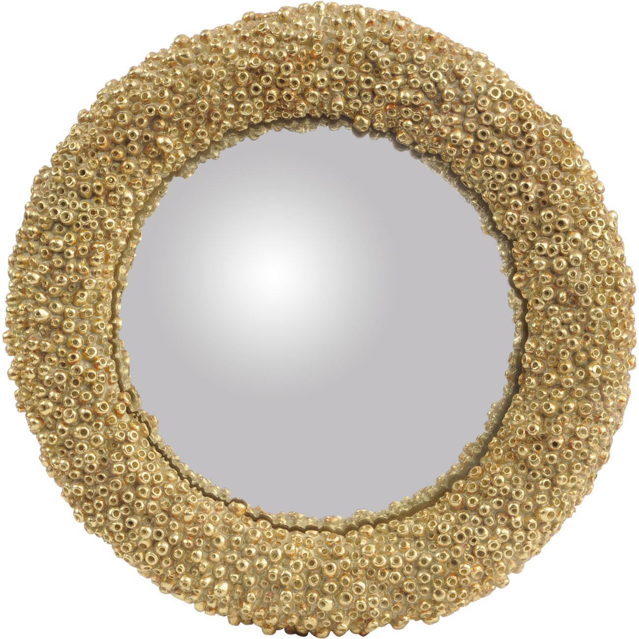 Round Convex Gold Coral Polyresin Mirror, Small thumbnail