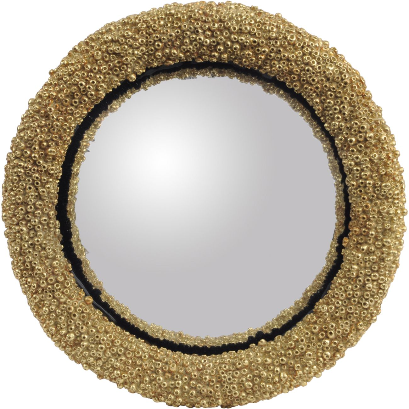 Round Convex Gold Coral Polyresin Mirror, Large thumbnail