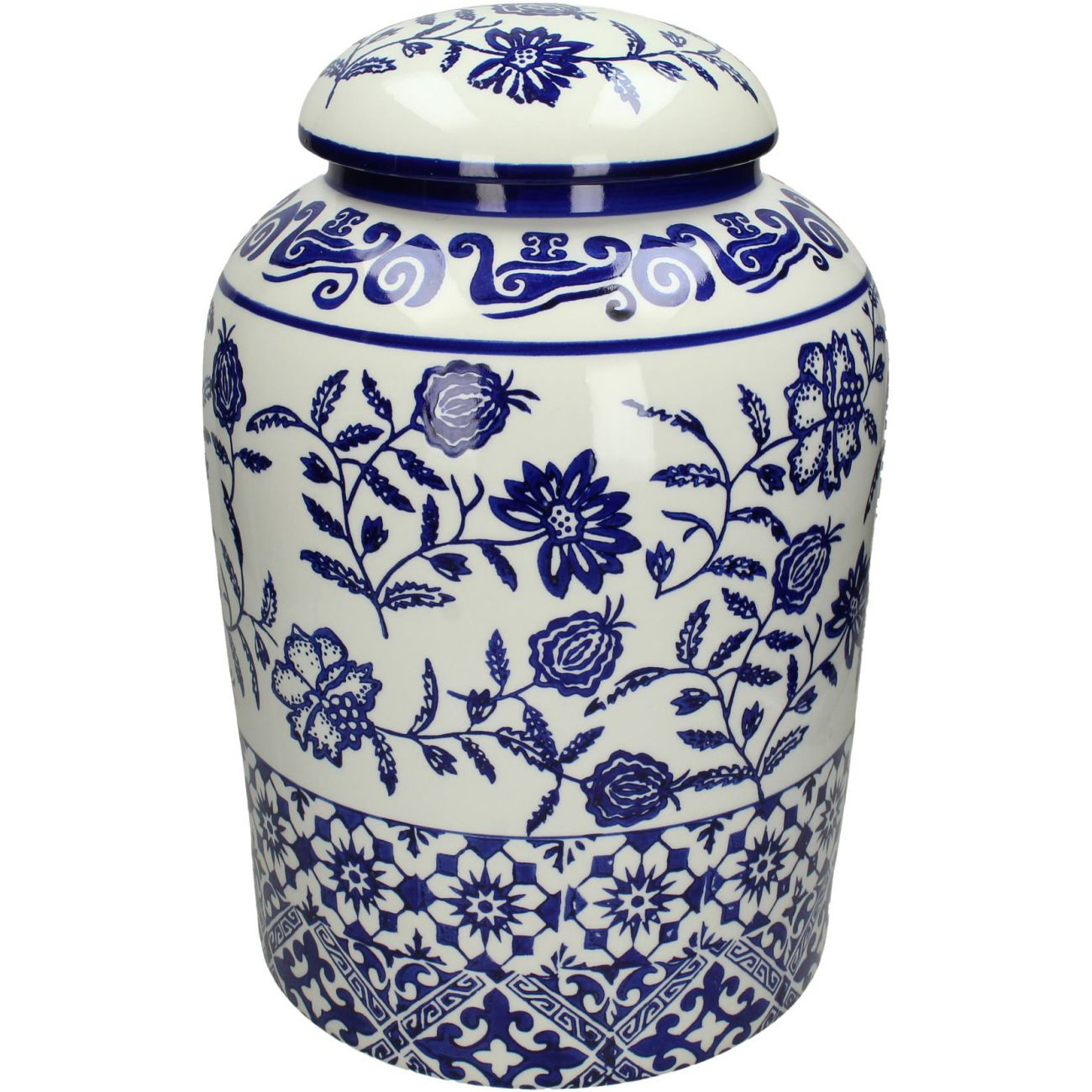 Blue Patterned Fine Earthenware Jar, Large thumbnail