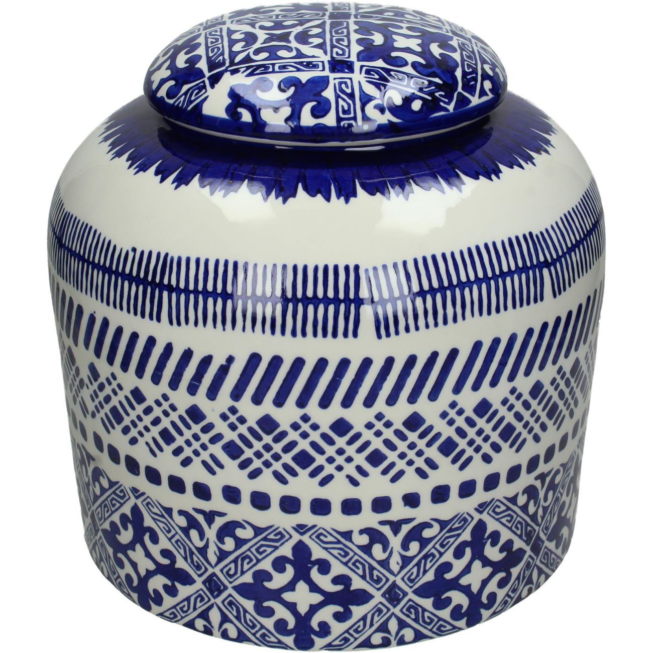 Blue Patterned Fine Earthenware Jar, Small thumbnail
