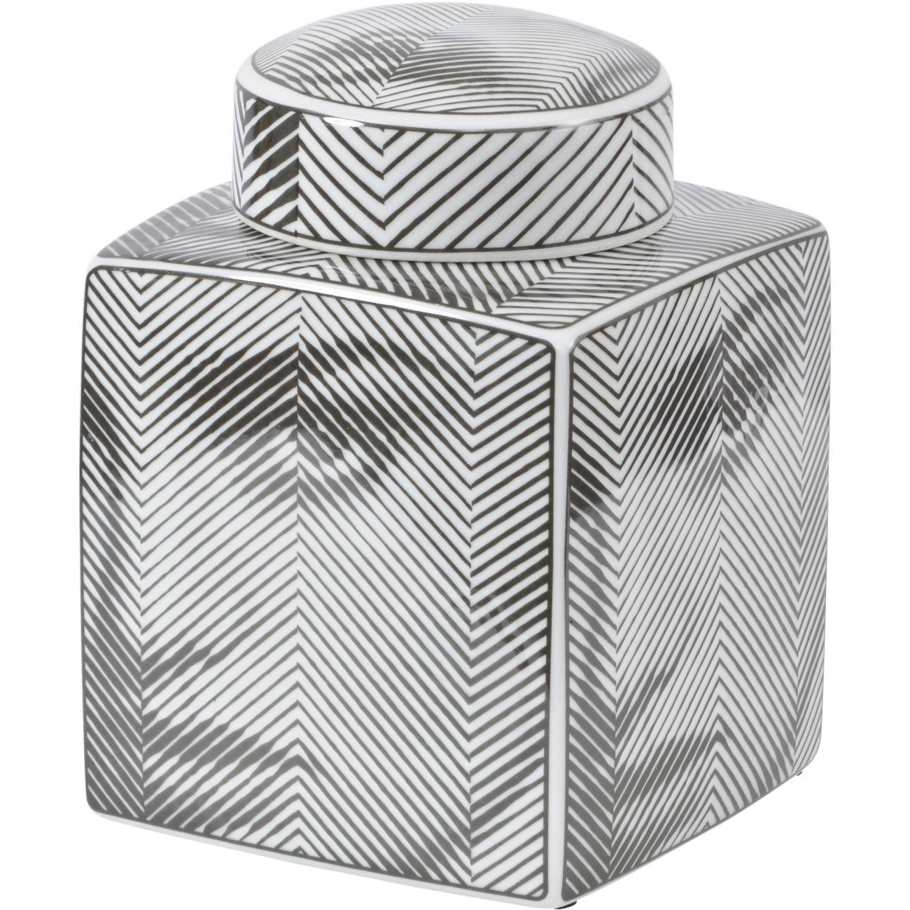 Fornasetti Style Porcelain Face Jar in Black, Small thumbnail