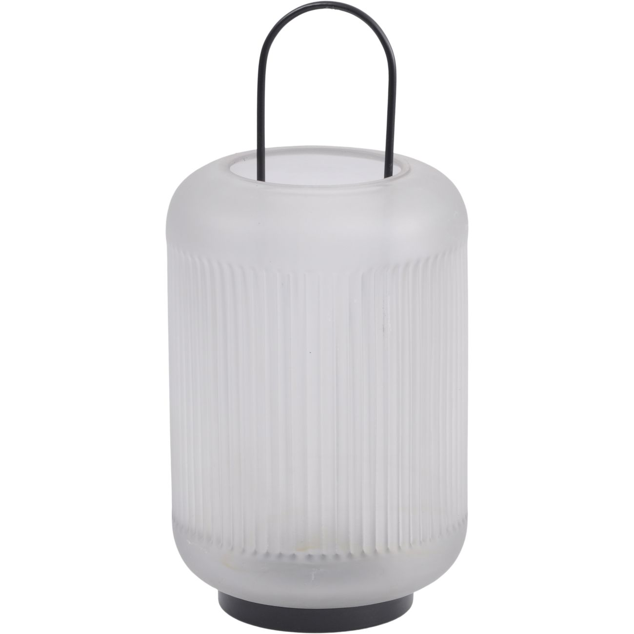 Frosted Grey Glass Lantern with Black Handle, Small thumbnail