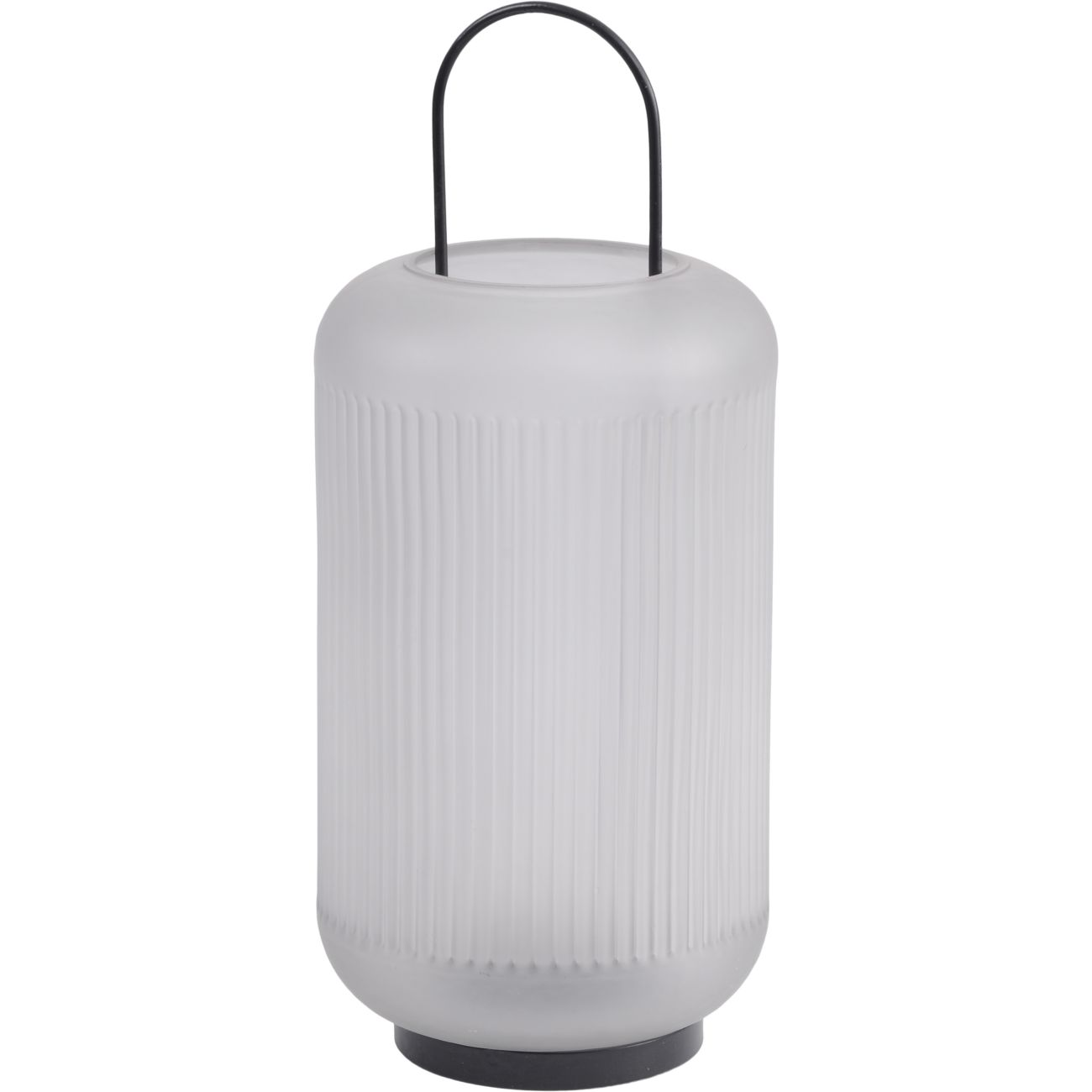 Frosted Grey Glass Lantern with Black Handle, Large thumbnail