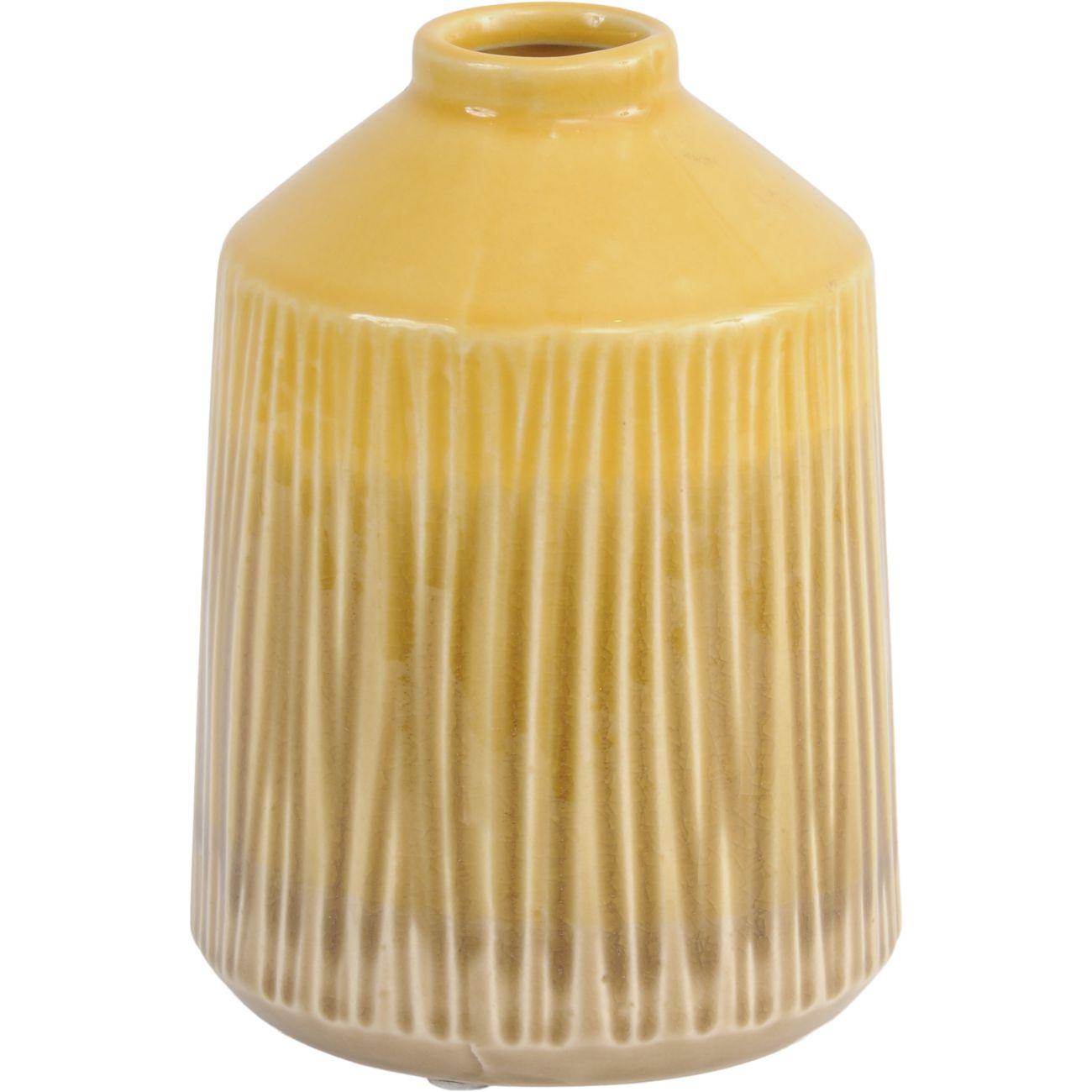 Yellow Stoneware Bottle Vase with Blended Glaze, Small thumbnail