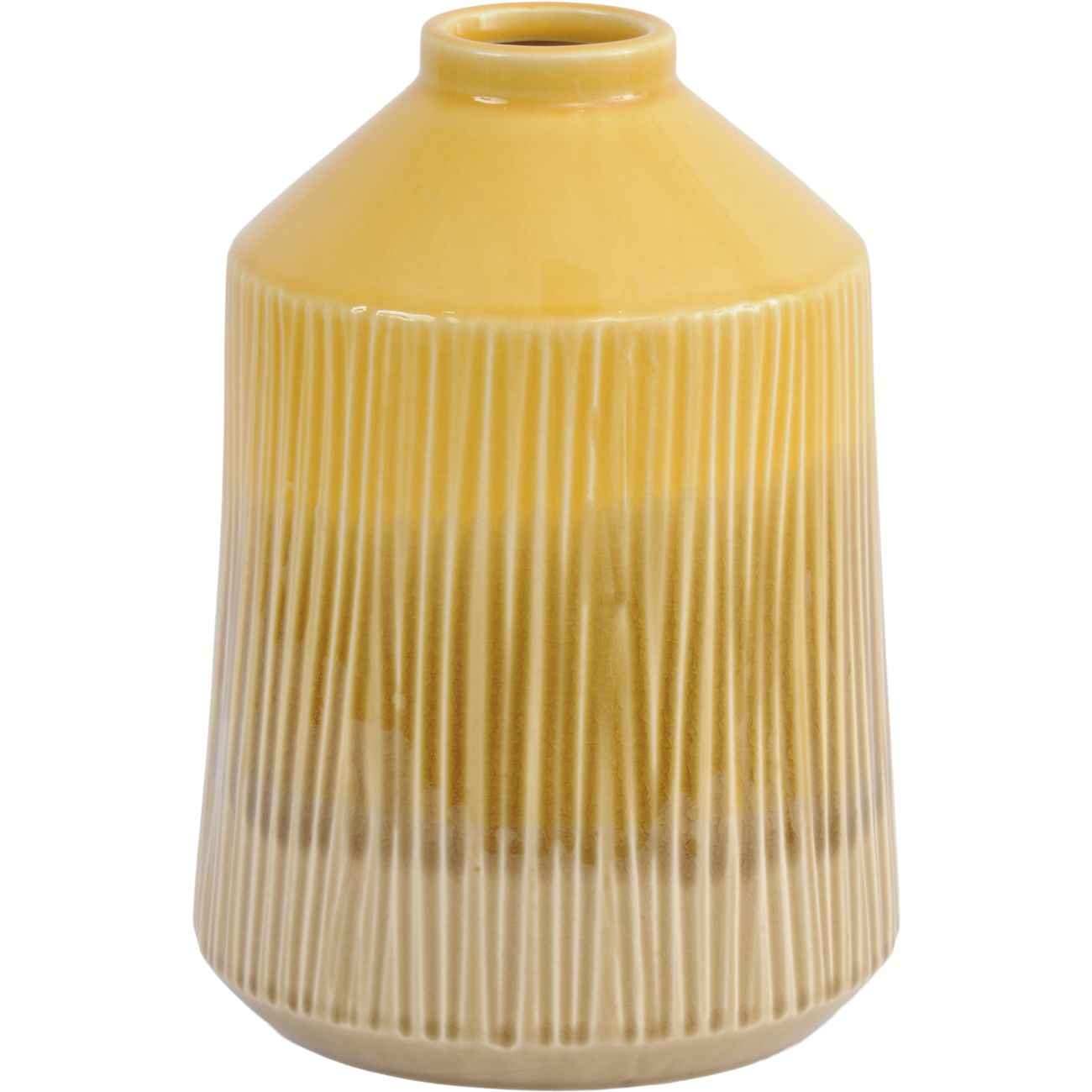 Yellow Stoneware Bottle Vase with Blended Glaze, Large thumbnail