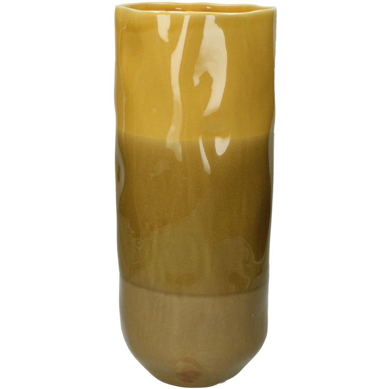 Ochre Stoneware Vase With Striped Glaze, Large thumbnail
