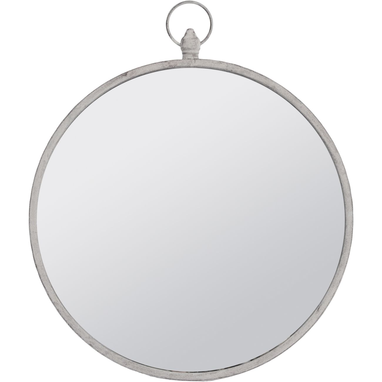 Round Mirror with Grey Metal Frame and Top Handle, Small thumbnail