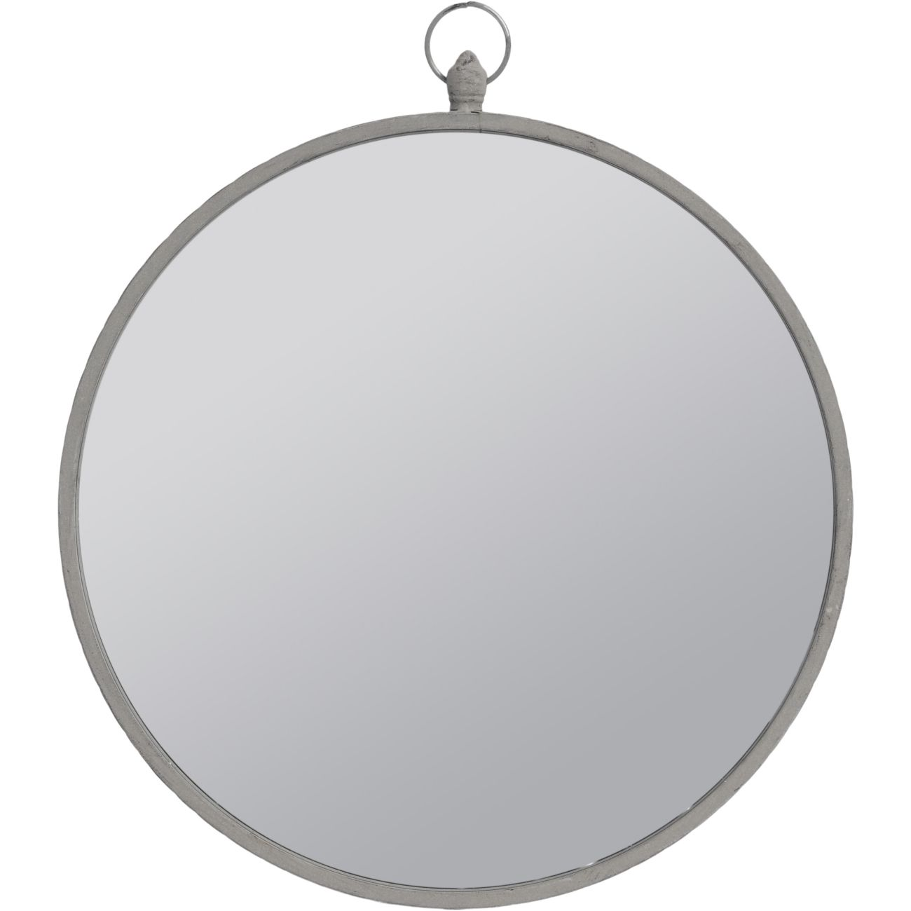 Round Mirror with Grey Metal Frame and Top Handle, Large thumbnail