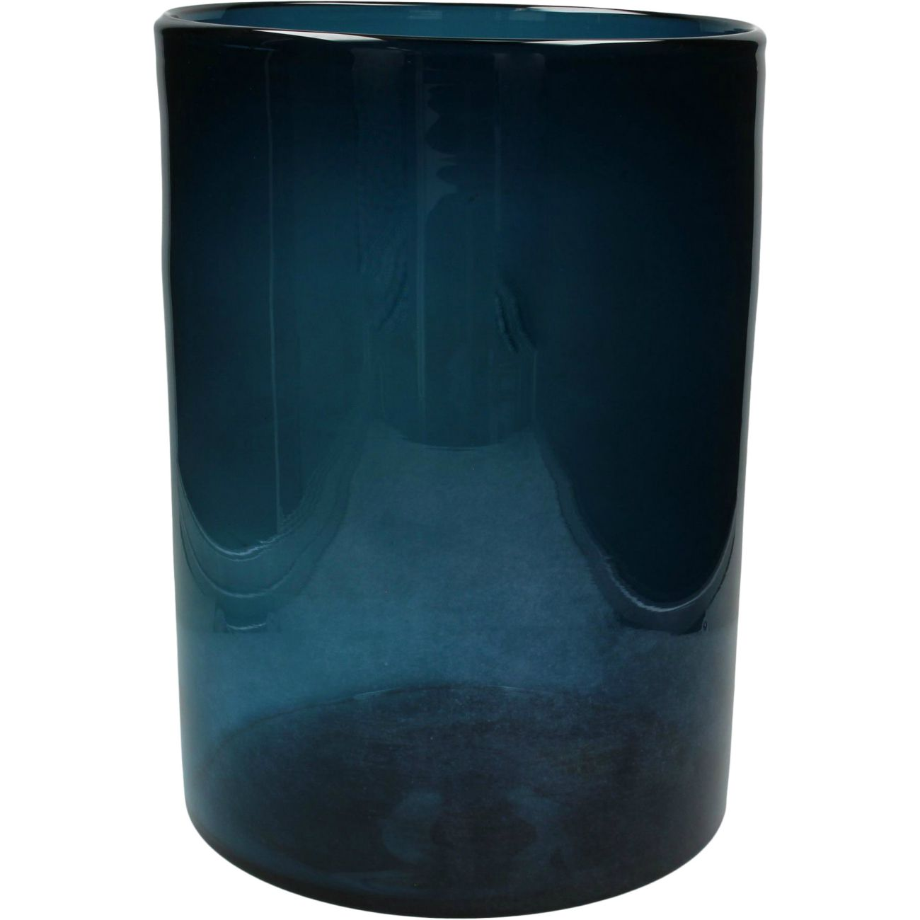Med Blue Cylindrical Glass Vase thumbnail