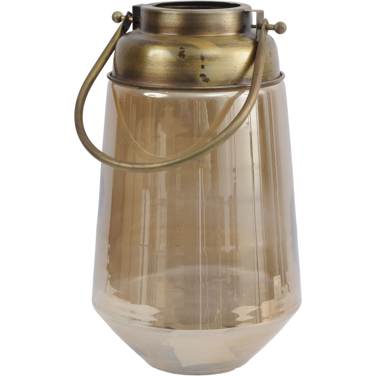Brown Glass Lantern with Gold Handle, Small thumbnail