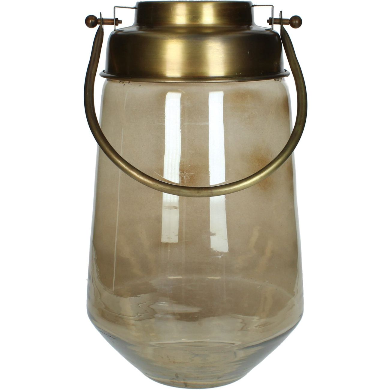 Brown Glass Lantern with Gold Handle, Large thumbnail