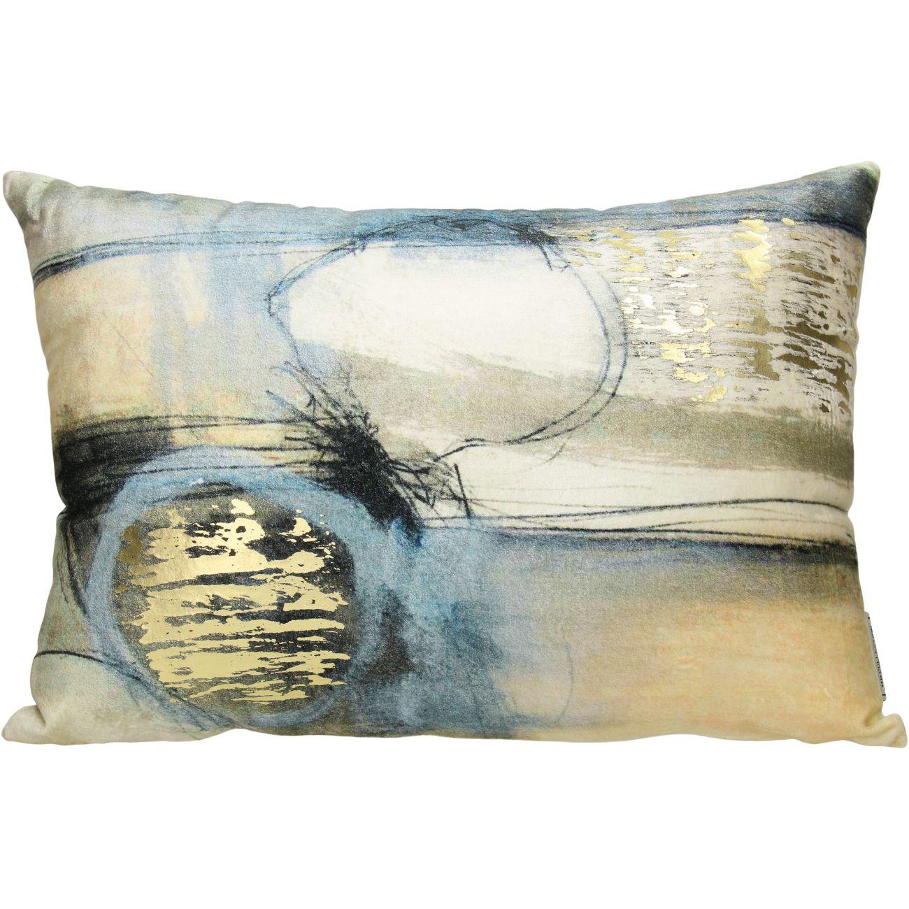 Studio Blue Rectangular Velvet Cushion, 35x50cm thumbnail