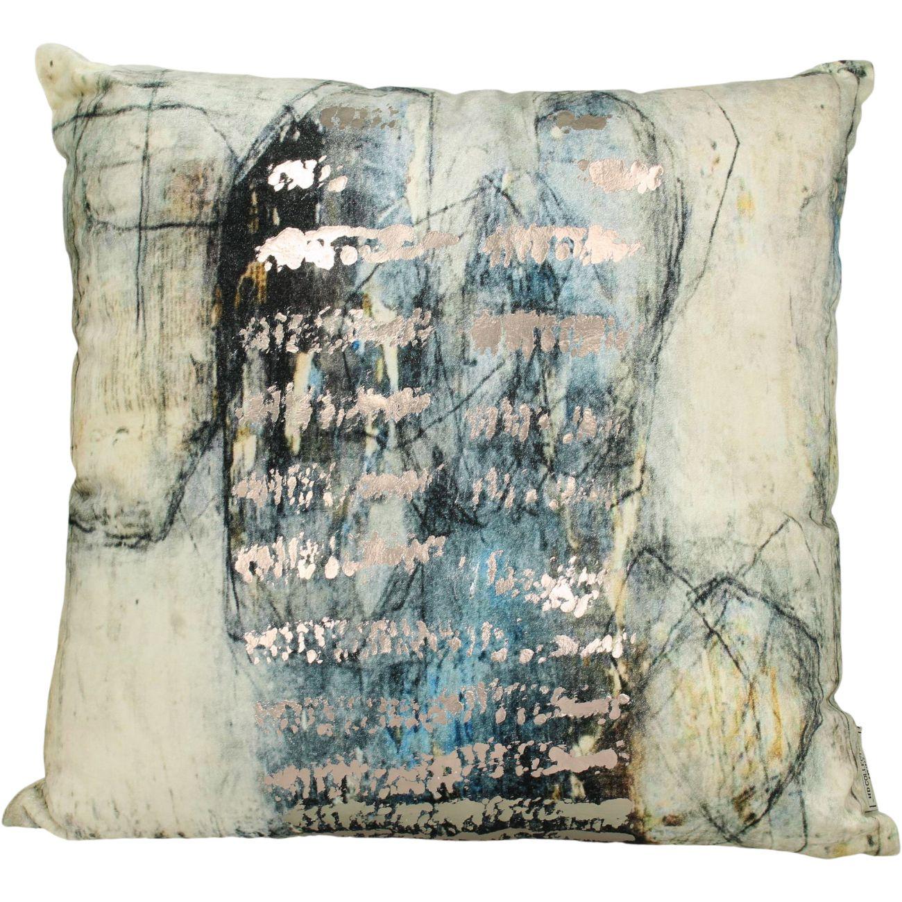 Studio Blue Square Velvet Cushion, 50x50cm thumbnail