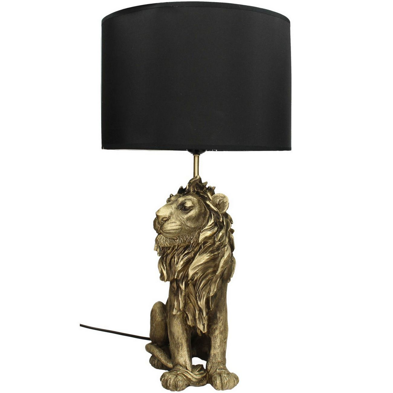 Lion Table Lamp in Gold Resin With Black Shade thumbnail