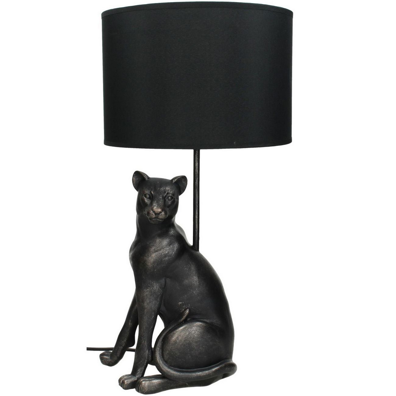 Leopard Table Lamp in Black Resin With Black Shade thumbnail
