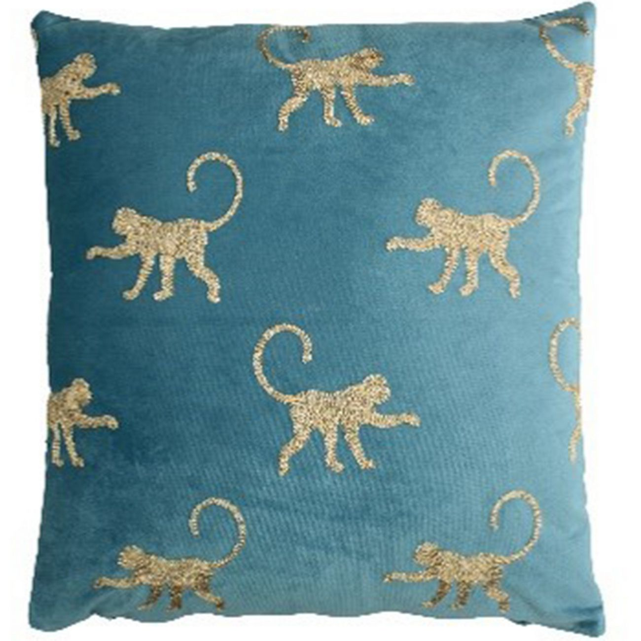 Cushion Cover Monkey Velvet Blue 45x45cm thumbnail