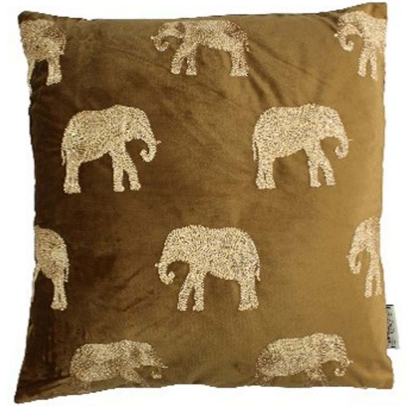 Cushion Cover Elephant Velvet Brown 45x45cm thumbnail