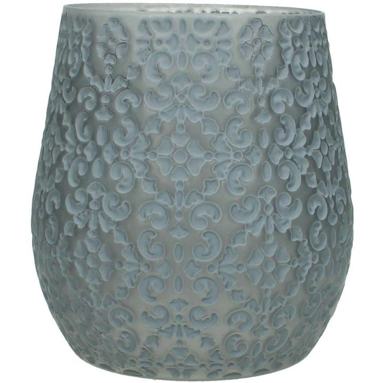 Patterned Glass Candle Holder in Grey, Small thumbnail