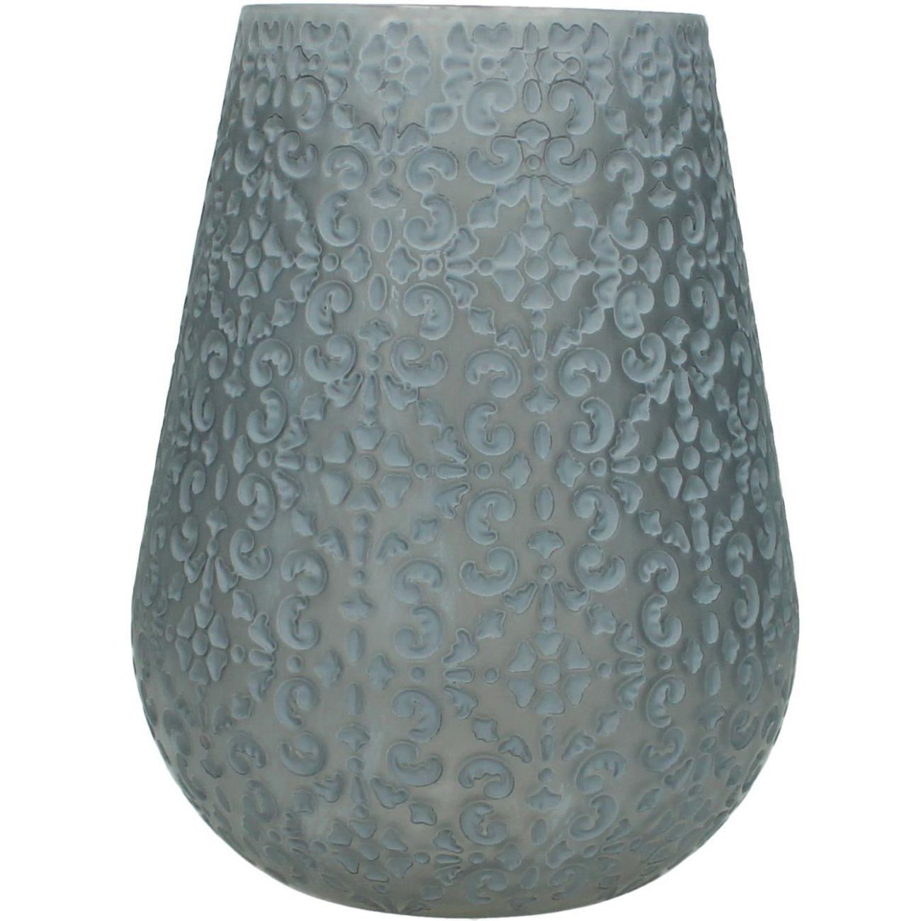 Patterned Glass Candle Holder in Grey, Large thumbnail