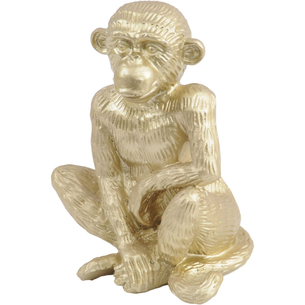 Gold Polyresin Sitting Monkey Sculpture thumbnail