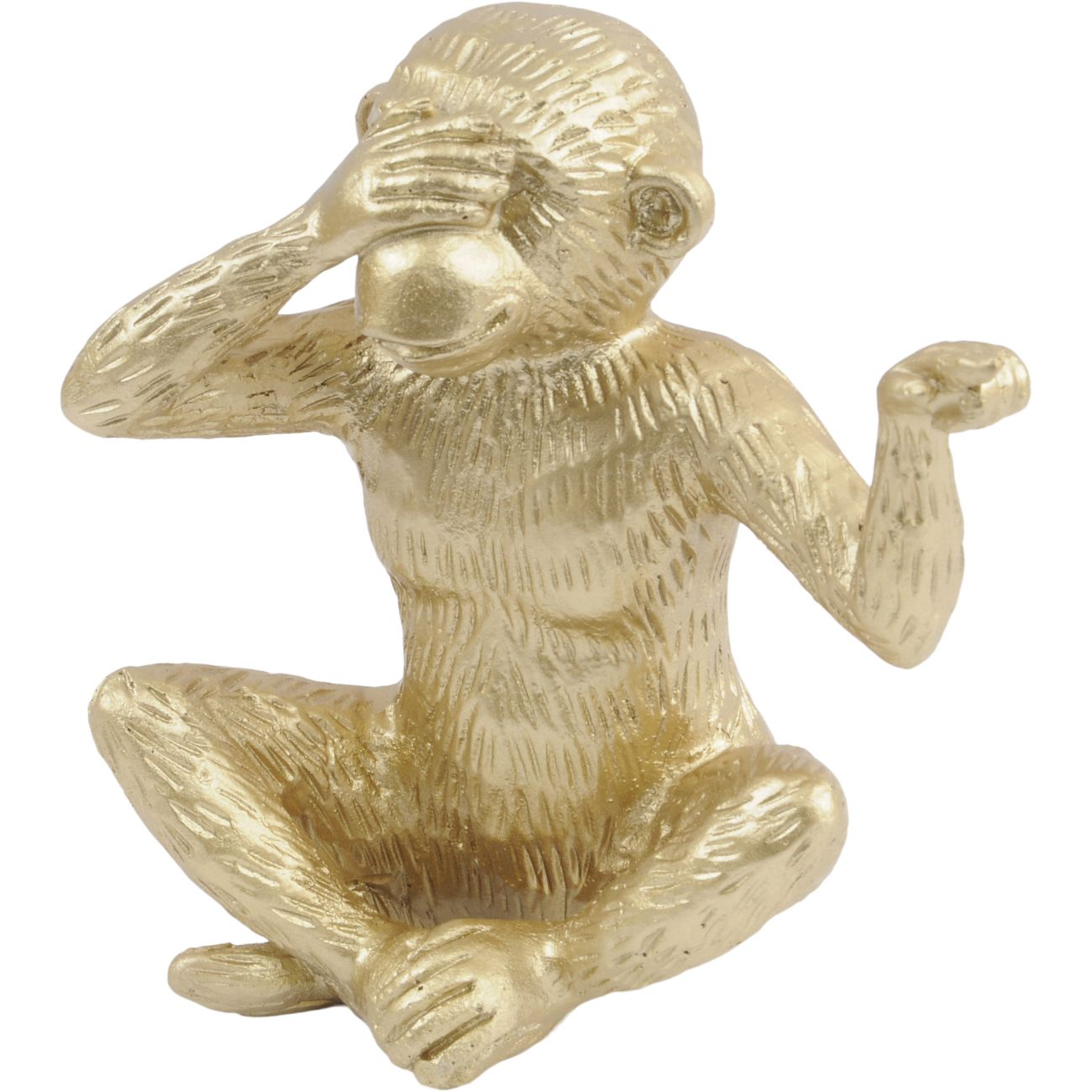 Gold 'See No Evil' Polyresin Monkey Sculpture, Small thumbnail