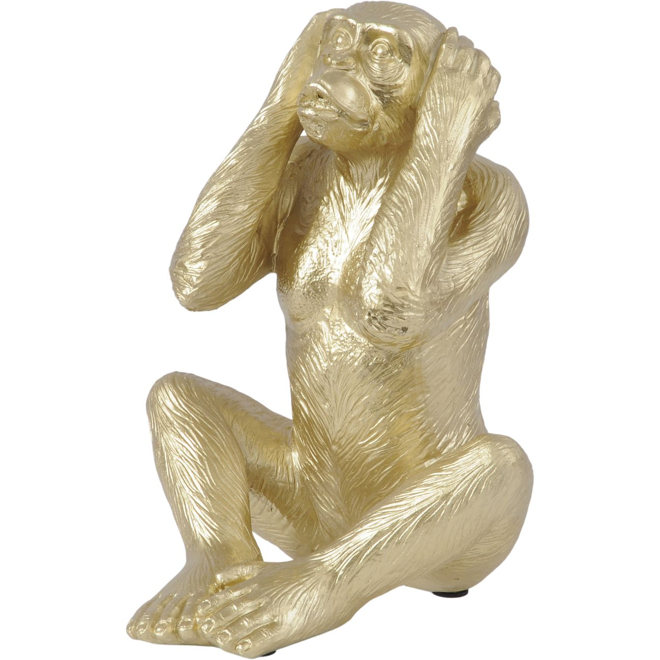 Gold 'Hear No Evil' Polyresin Monkey Sculpture, Large thumbnail