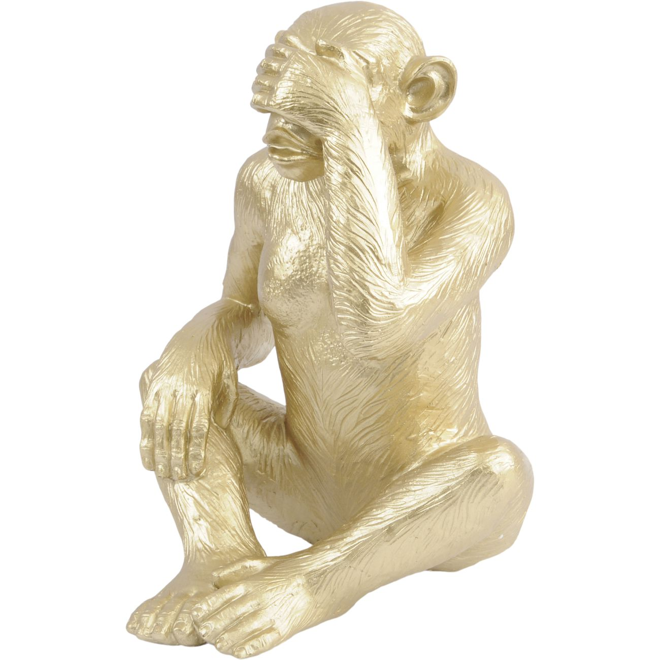 Gold 'See No Evil' Polyresin Monkey Sculpture, Large thumbnail