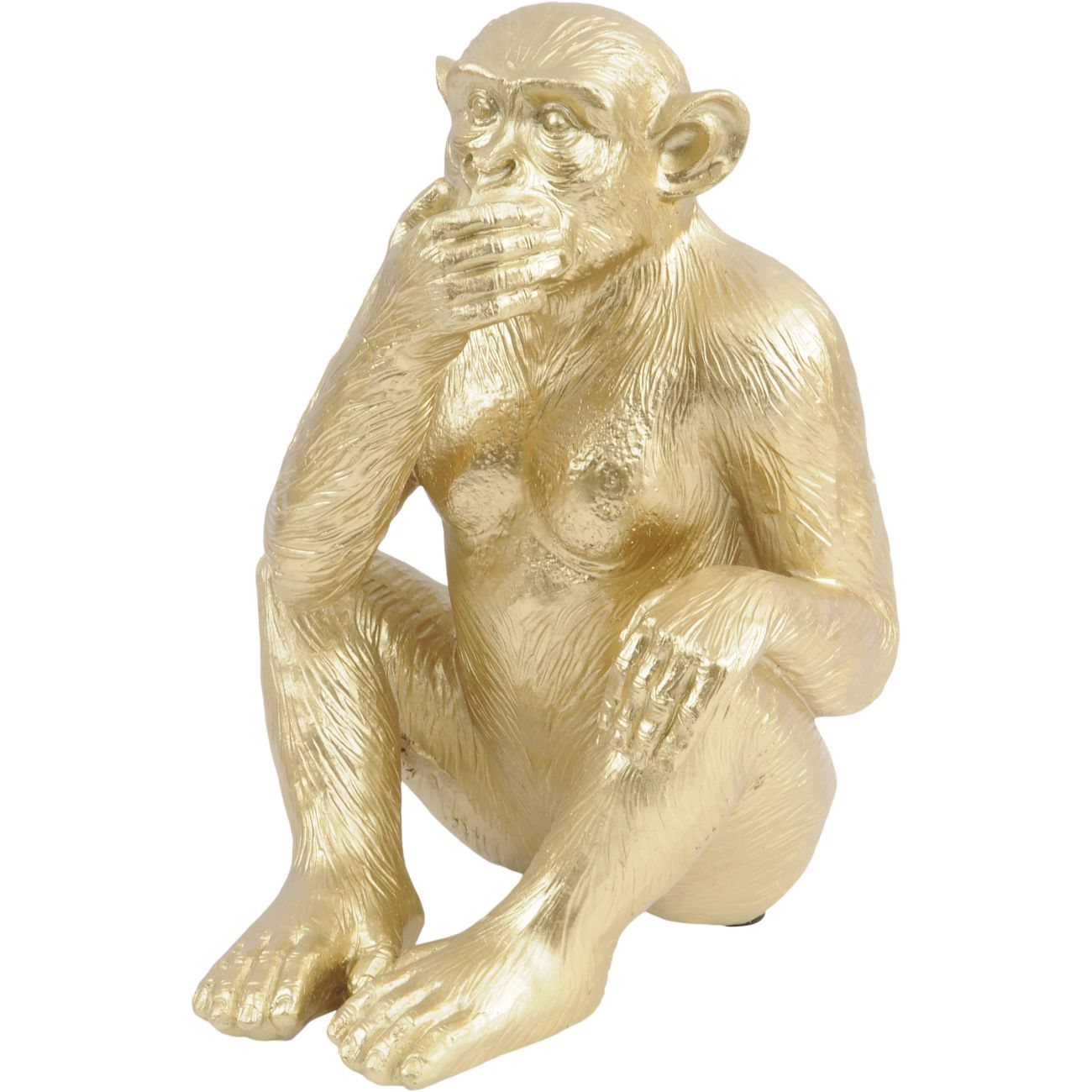 Gold 'Speak No Evil' Polyresin Monkey Sculpture, Large thumbnail
