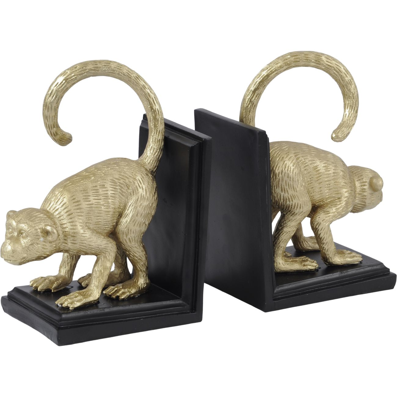 Gold and Black Monkey Book Ends in Polyresin thumbnail
