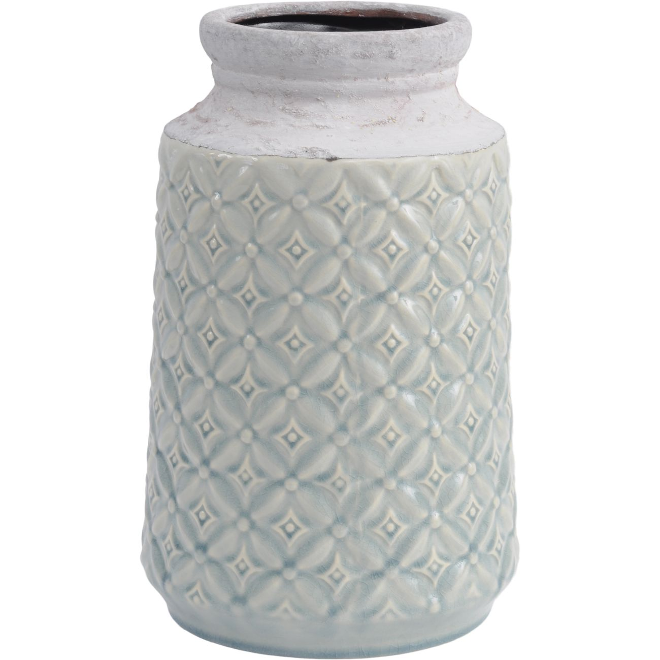 Turquoise Blue Ceramic Vase with Patterned Detail thumbnail