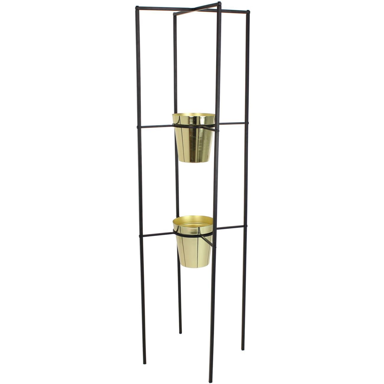 Gold Planters with Black Metal Frame Stand thumbnail